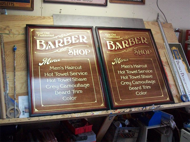 Hand Painted Gold Leaf Signs For An Old School Barber Shop