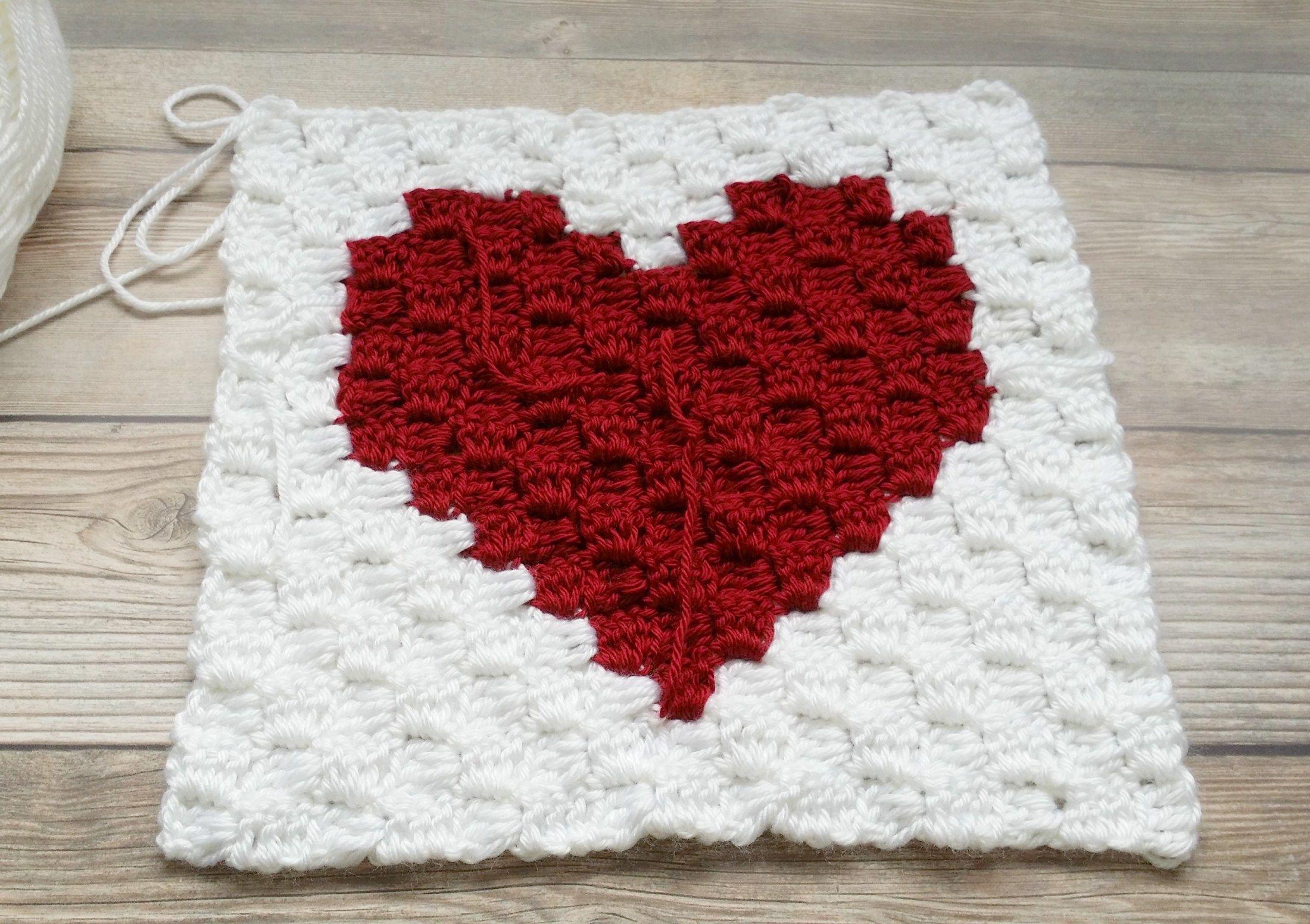 Crochet Heart - Easy C2C (corner to corner) Heart Square pattern ...
