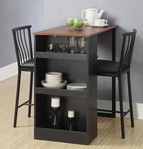 Counter Height Dining Set Kitchen Furniture Pub Bar Table 3 Piece