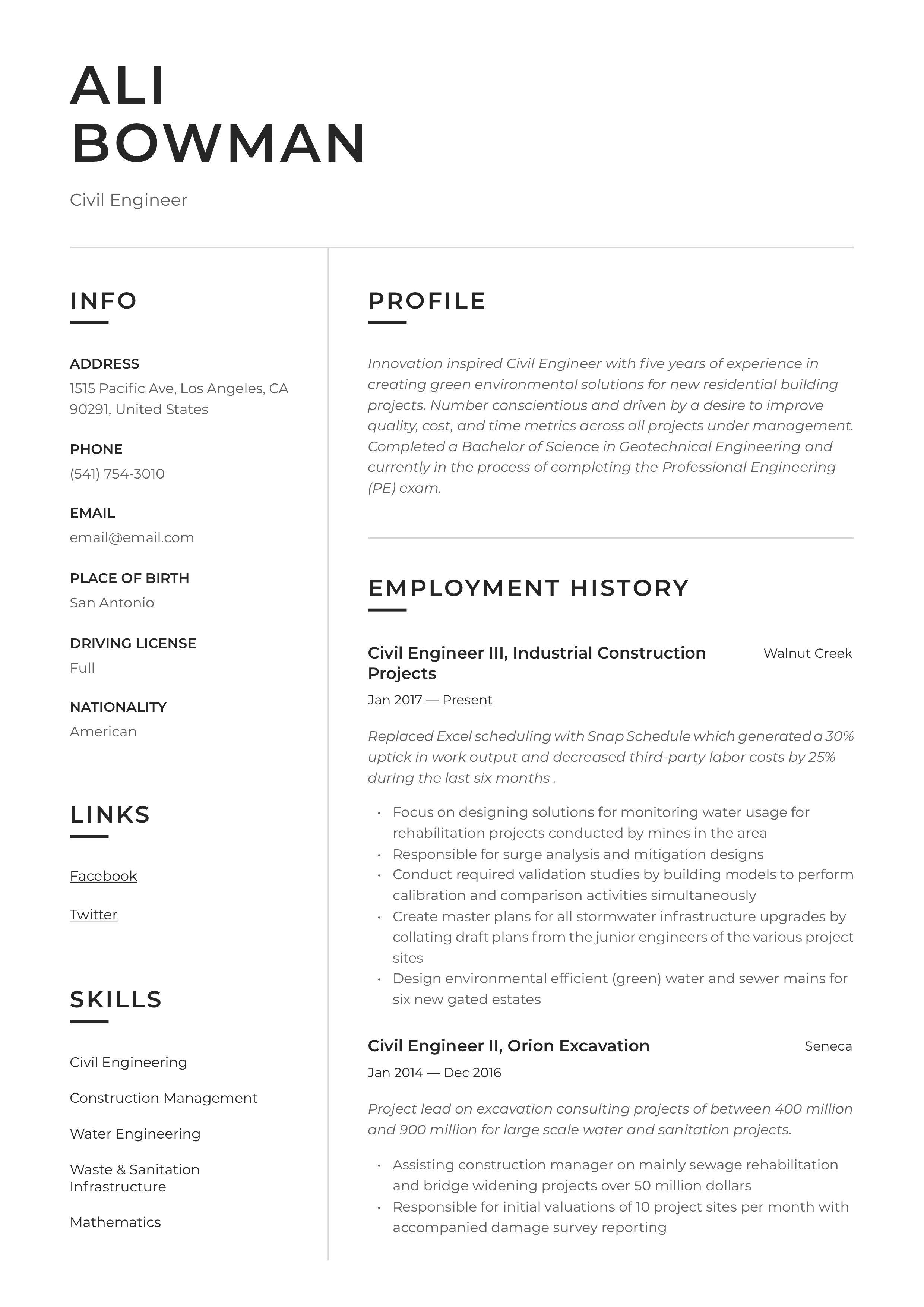 Civil engineer resume sample in 2020 civil engineer
