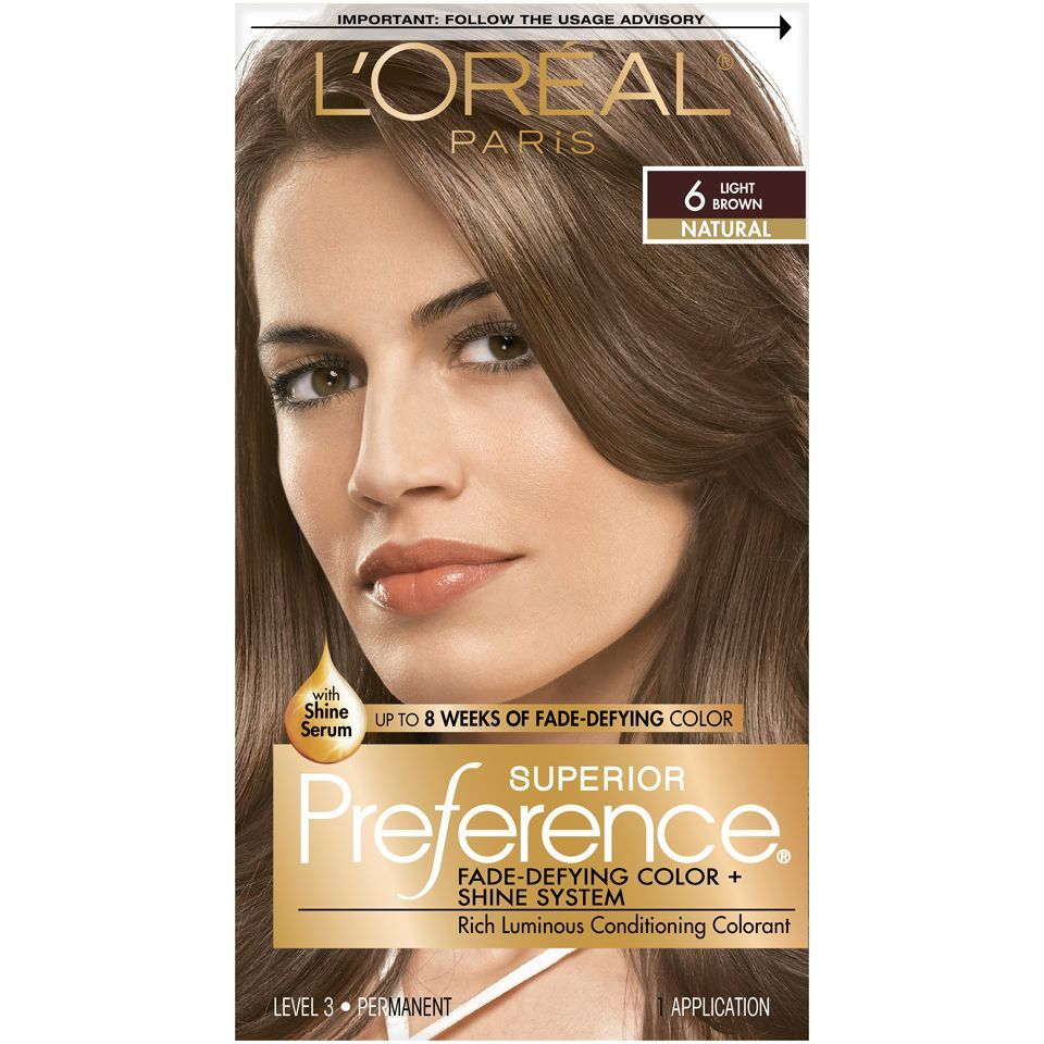 Brown Hair Colors Discover Loreal Paris Superior Preference Fade Defying Shine Permanent Hair Color 6 Light Brown 1 In 2020 Hair Color Shades Loreal Hair Color Loreal