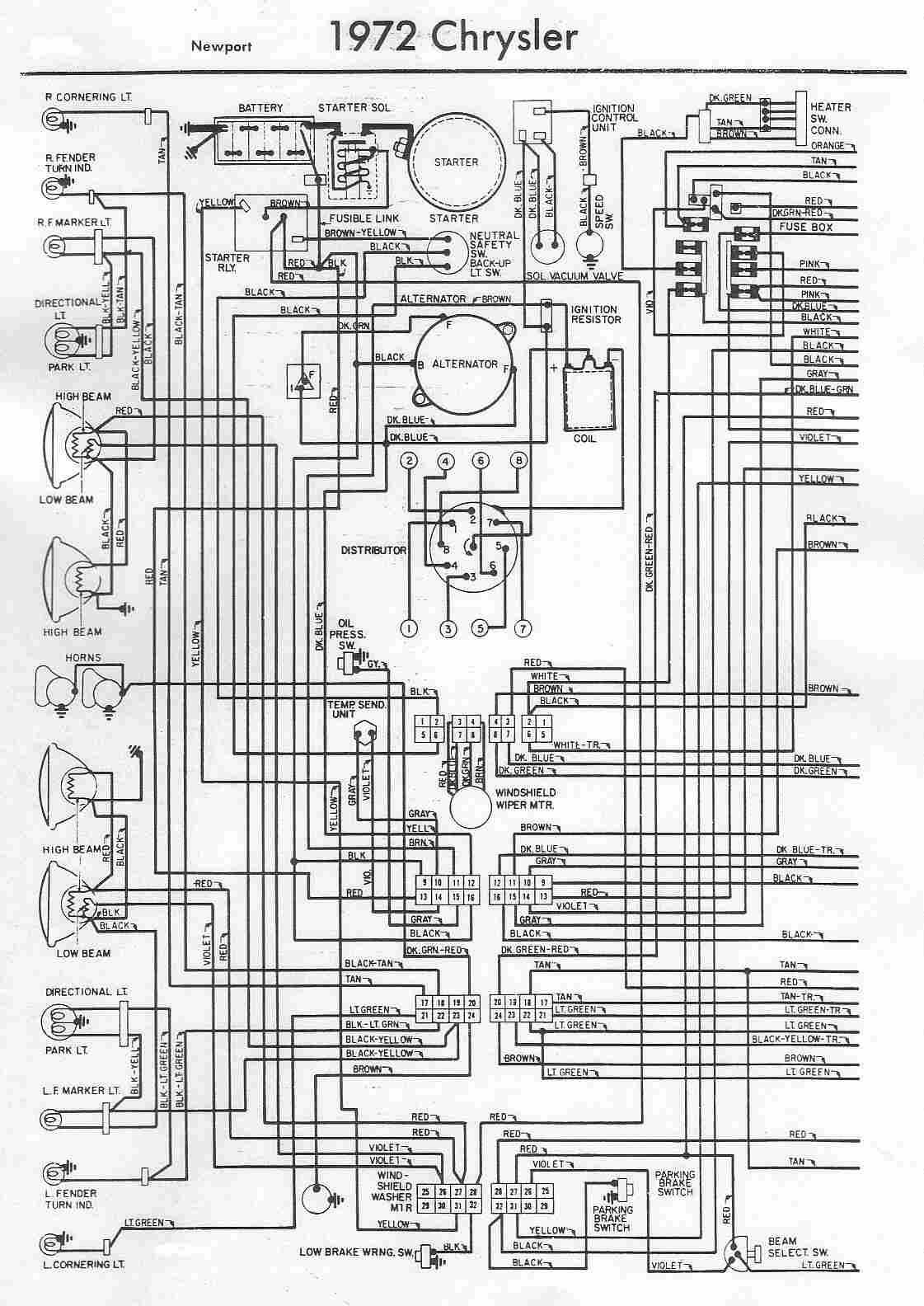 1972 Car Chrysler Newport Electrical Wiring Diagram Schematic Electrical Wiring Diagram Chrysler Newport Diagram