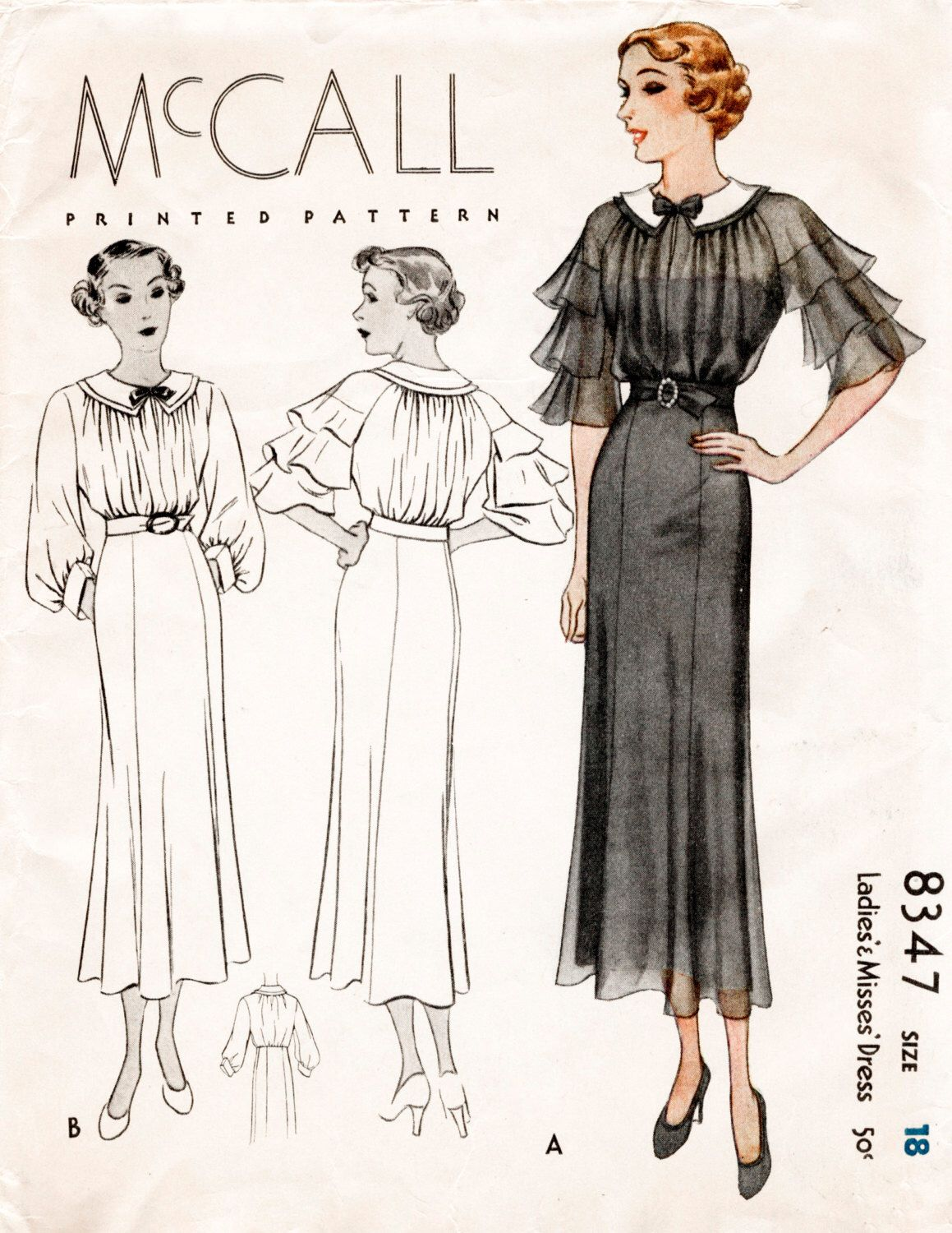 Beautiful fluffy sleeves...30s 1930s vintage repro sewing dress pattern cascade ruffles shirred bodice frock bust 36 b36 reproduction by LadyMarloweStudios on Etsy https://www.etsy.com/listing/465233802/30s-1930s-vintage-repro-sewing-dress