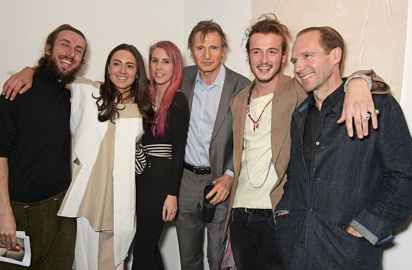 Liam Neeson supports son Micheál Neeson at gallery opening