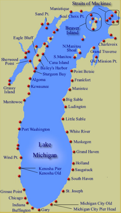 Map Showing The Approx Lighthouses Along The Shoreline Of Lake - Michigan lakes map