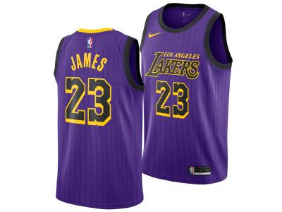 Los Angeles Lakers LeBron James Nike 2018 NBA Men s City Swingman ... 3c9a58ac80f