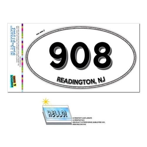 Readington NJ New Jersey Oval Area Code Sticker - Area code 908