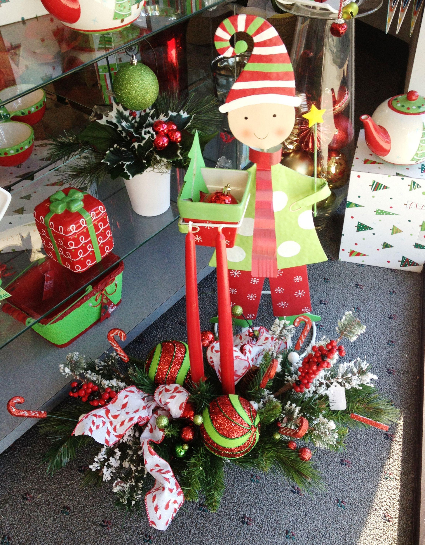 Elf decoration with ceramic planter faux flower