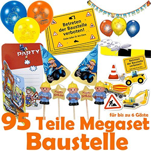 95 teiliges baustelle deko party set f r kindergeburtstag oder motto party mit bis zu 6. Black Bedroom Furniture Sets. Home Design Ideas