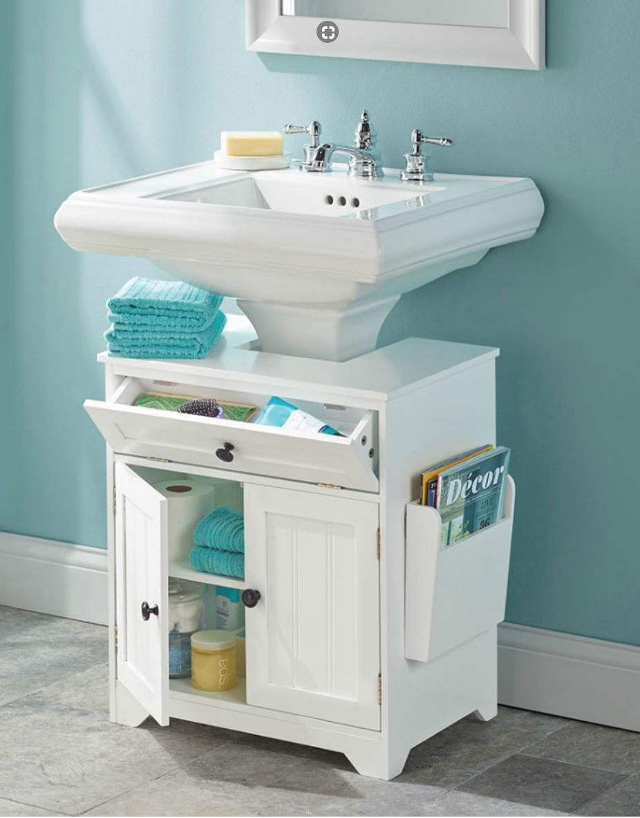 This Bathroom Cabinet Converts Any Pedestal Sink Into A Storage Friendly Vanity With An 8 1 2 D X 4 W Opening That Comfortably Nestles Around