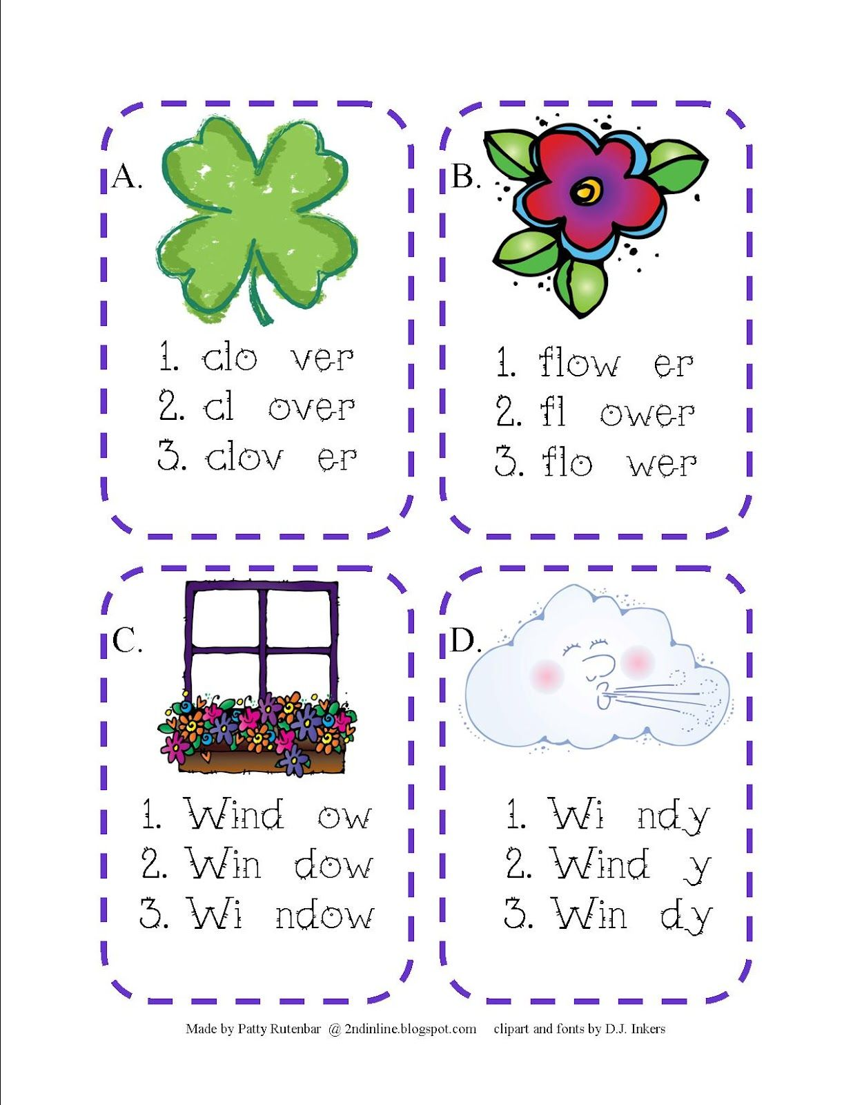 Second In Line Syllable Cards