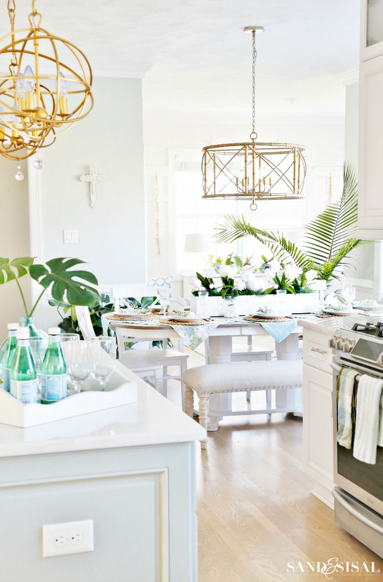Coastal Kitchen Decorating Ideas For Spring With Images Coastal Kitchen Decor Coastal Decorating Living Room Coastal Living Rooms