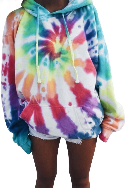 Rainbow Dye Tie Oversized Hoodie Ropa Para Ninas Fashion Ropa Hippie Ropa Juvenil De Moda [ 1500 x 1001 Pixel ]