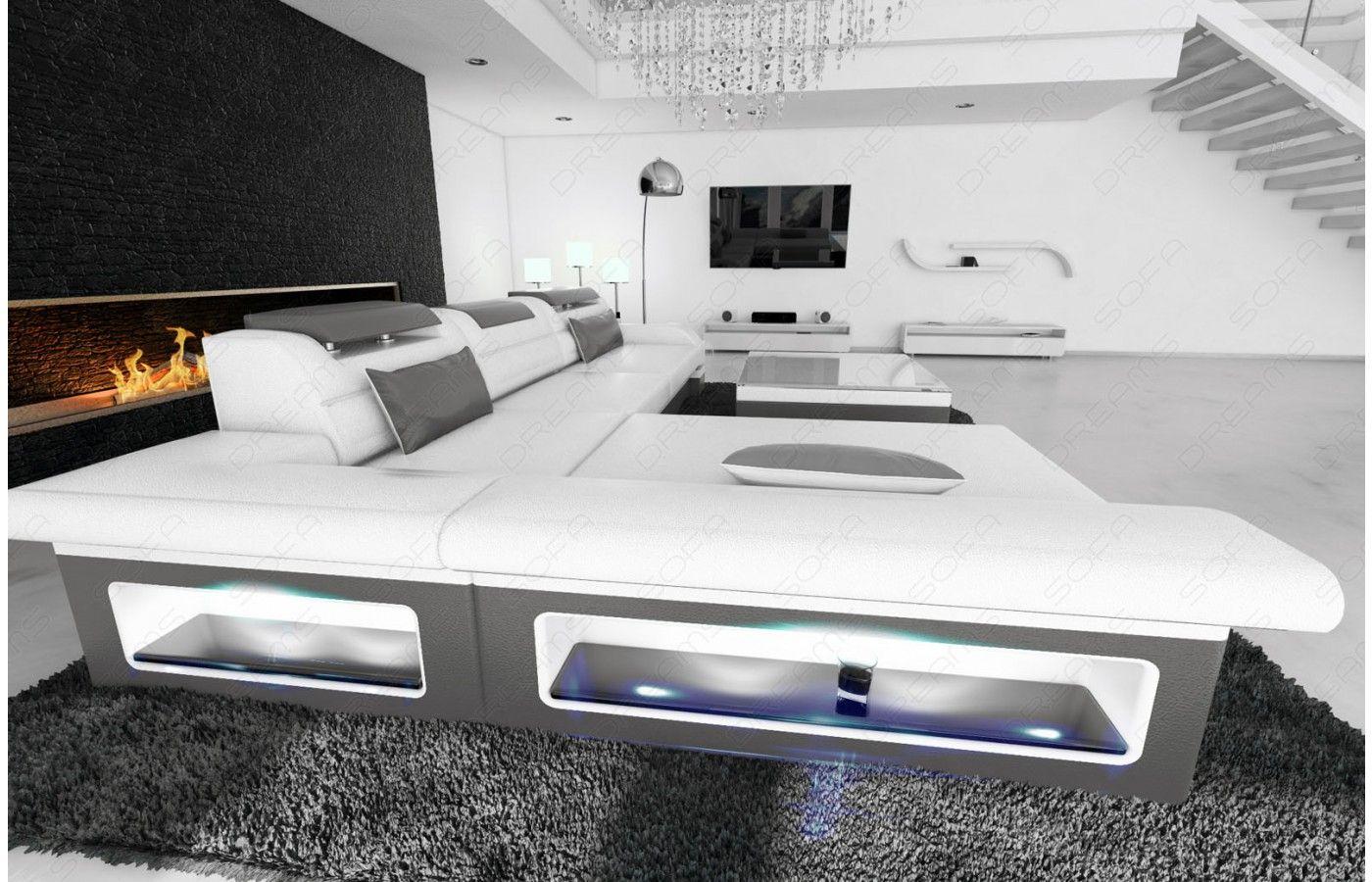 Exklusive Sofas designer ledersofa monza l form in weiß grau exklusiv bei sofa