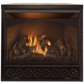Procom 35 In W 32 000 Btu Black Vent Free Dual Burner Gas Fireplace Firebox With