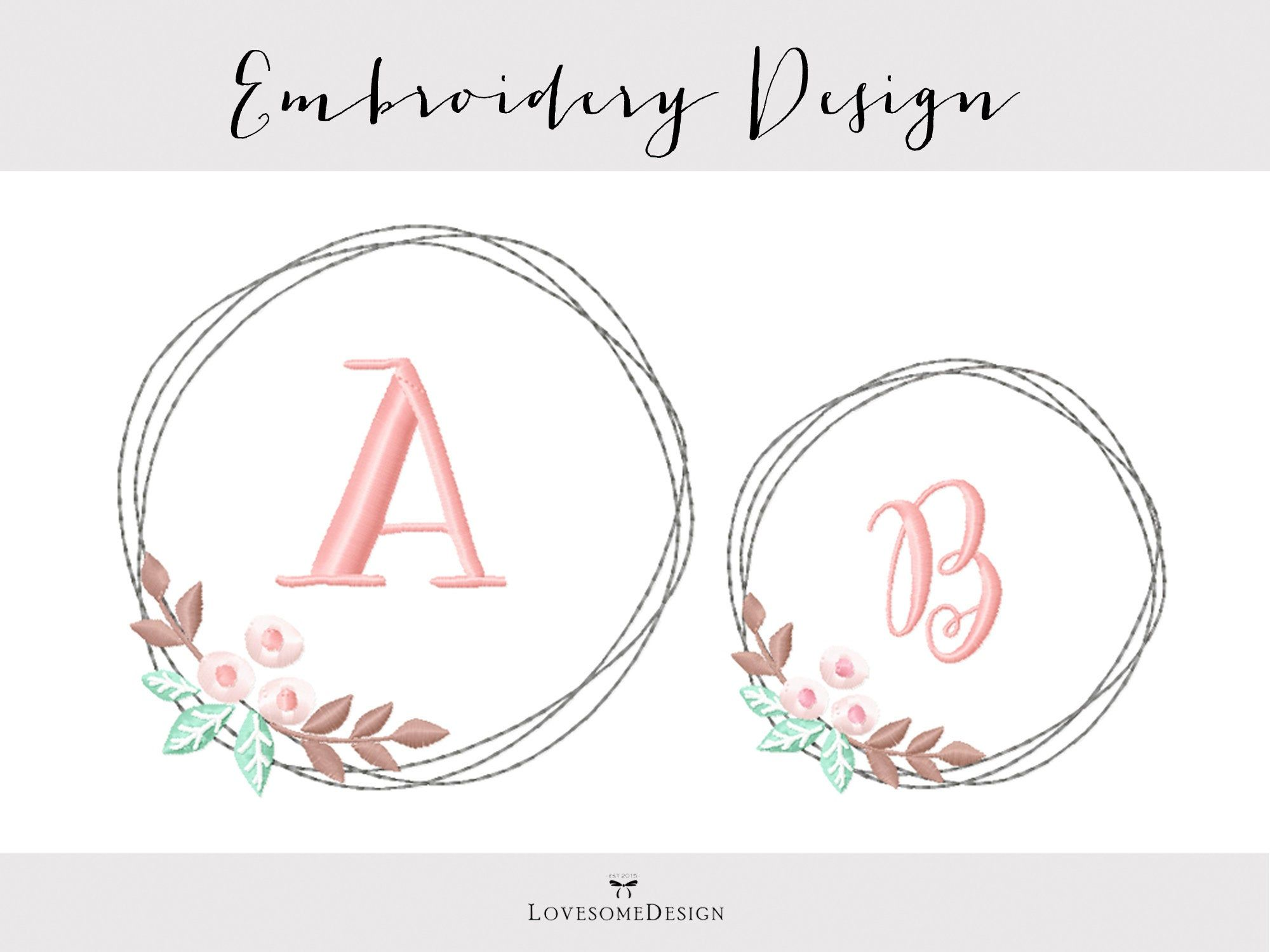 Photo of Floral Wreath Embroidery Design Two Sizes, Modern Embroidery Design, Wreath Embroidery, Laurel Embroidery Design, Wreath for Monograms