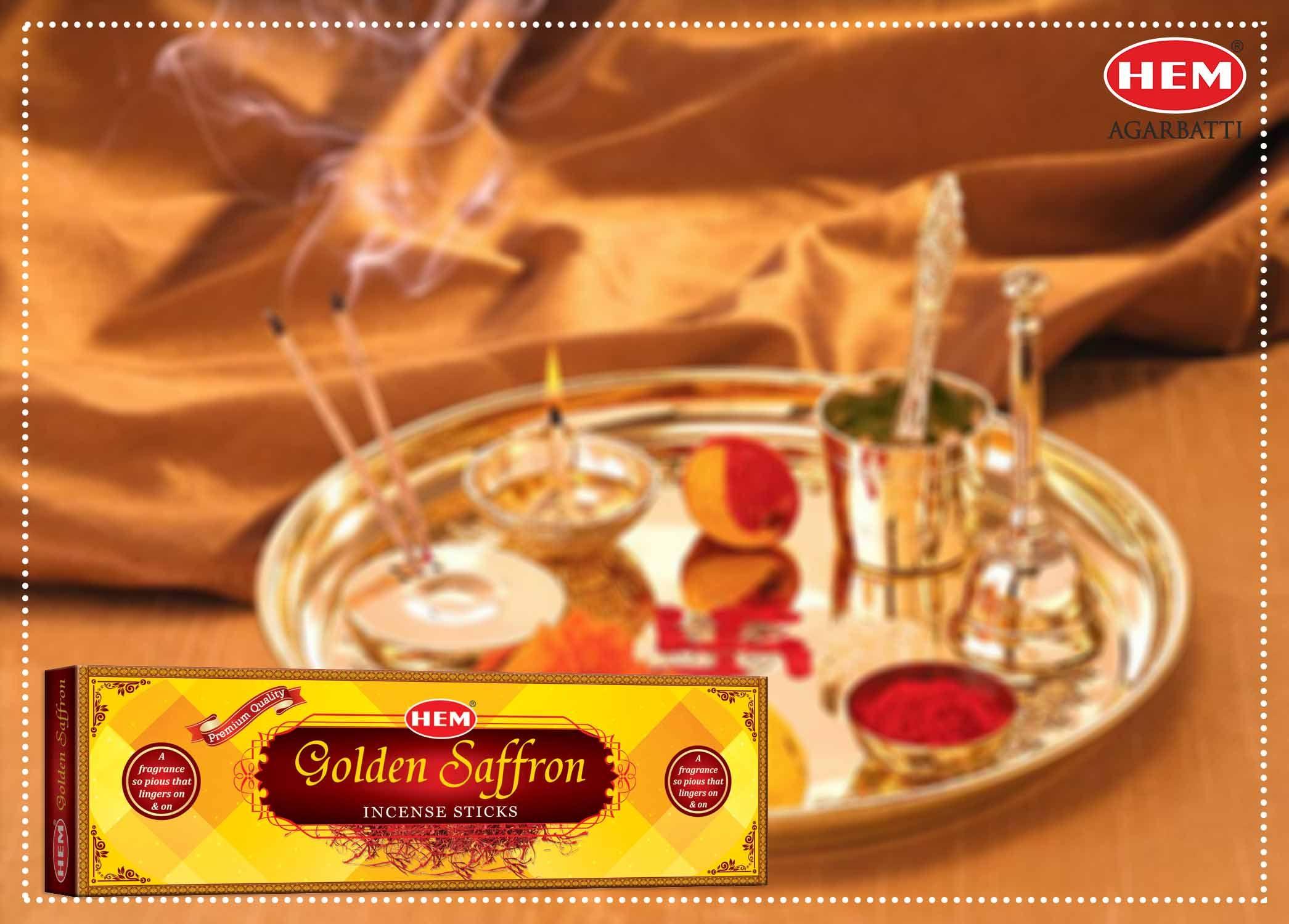 Hem Golden #Saffron Incense Sticks are ideal not only for