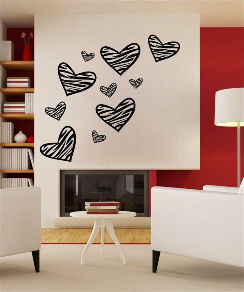 Heart Shaped Zebra Stripe Black Diy Vinyl Decal Mural Wall Sticker