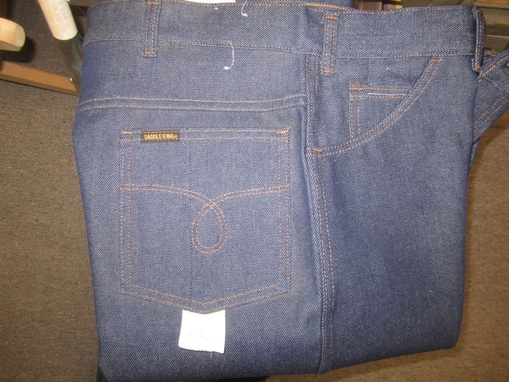 Vintage Saddle King Mens Blue Jeans Usa Made Brand New With