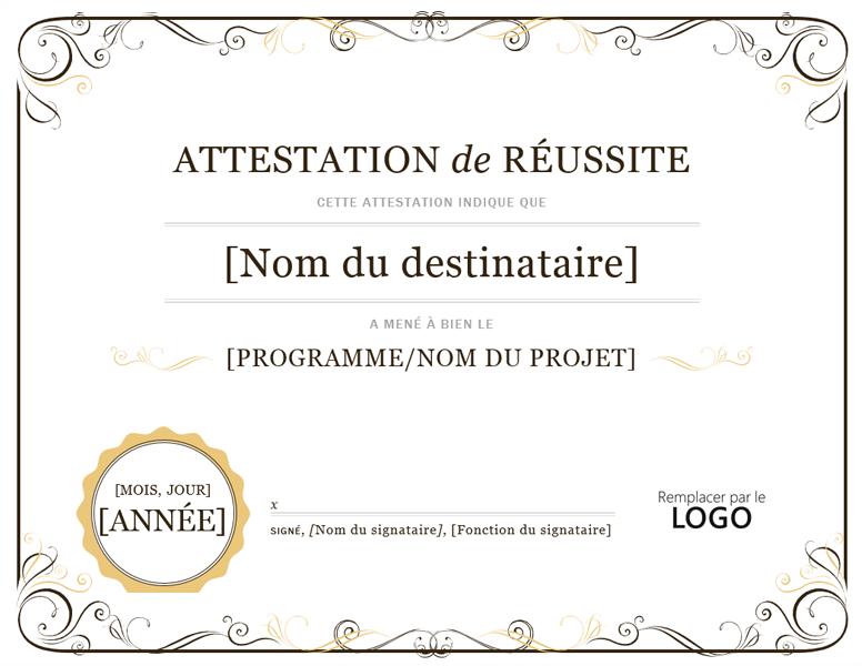 Certificat De Réussite (avec images) Modèles de