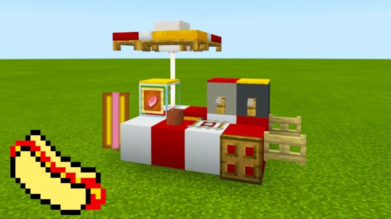 """Minecraft Tutorial How To Make A Hot Dog Stand """"2019 City Tutorial"""""""