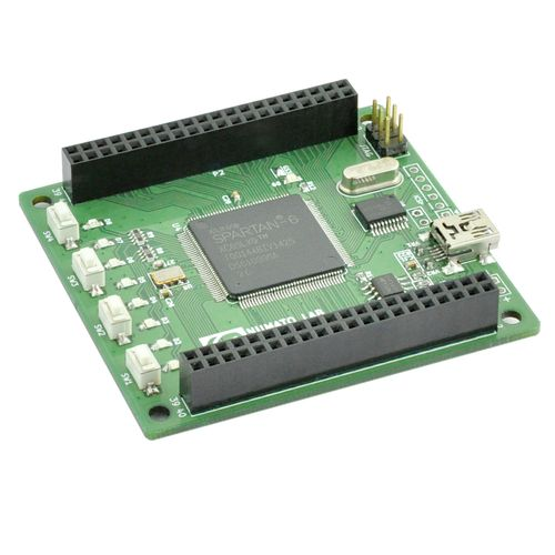 Xilinx Spartan-6 FPGA Development board features Xilinx XC6SLX9 TQG144 FPGA with maximum 70 user IOs. The USB interface provides fast and easy configuration download to the on-board SPI flash. No need of a programmer or special downloader cable to download the bit stream to the board.