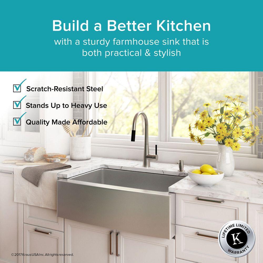 Kraus Khf200 30 Kitchen Sink Stainless Steel Kitchen Sinks Sinks Efaucets Com Farmhouse Sink Kitchen Apron Sink Kitchen Sink
