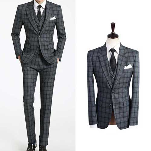 Men S Wedding Suit Uk 2bt Italian Grey Checked Plaid Sale Prom Suits