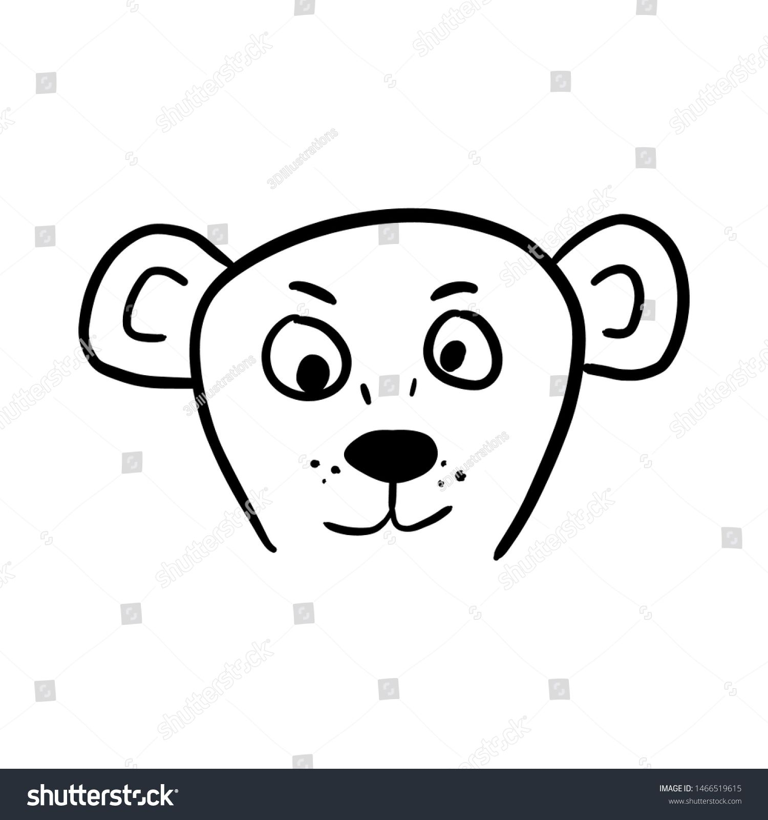 Head Of Cute Bear Character Hand Drawn Cartoon Vector Ink Illustration Isolated On White Background Digi Cartoon Art Drawing Ink Illustrations Bear Character