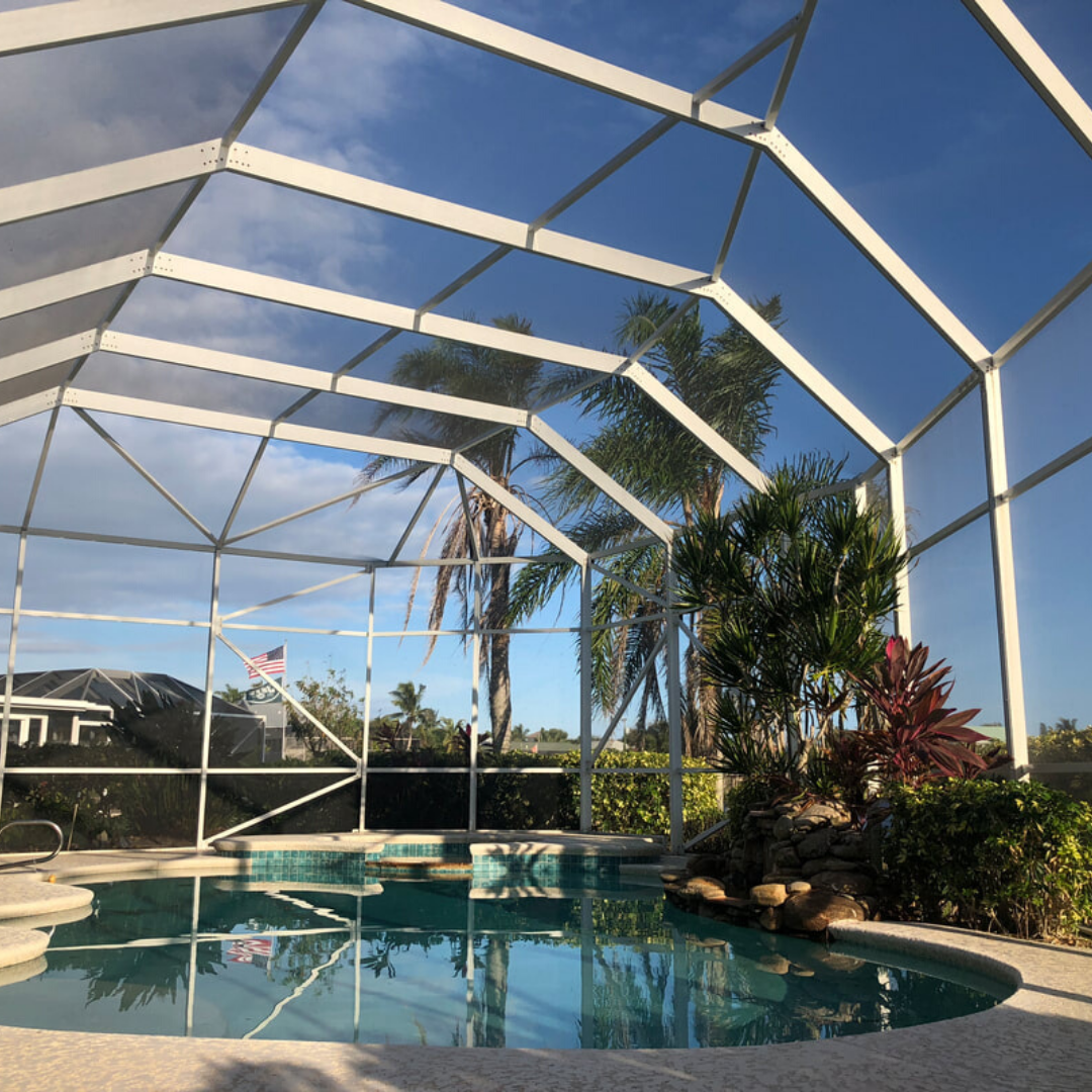 At Michels Screen Fence We Continue Providing The Best In Backyard Renovation Solutions We Ins Screen Enclosures Backyard Renovations Pool Screen Enclosure