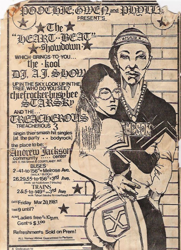 Most of the Old School Party Flyers were Designed By Buddy Esquire and Phase 2. Phase 2 was a real big Aerosol Artist who wrote on allot of the NYC Trains who also did a majority of the Party Flyers back then. Buddy Esquire was a regular Artist who did allot of party flyers as well. These Cats Worked on big Art tables and had all the tools to make these flyers by hand including those Rub on Letters, wax Machines, exacto knives, Graph Paper and many other tools