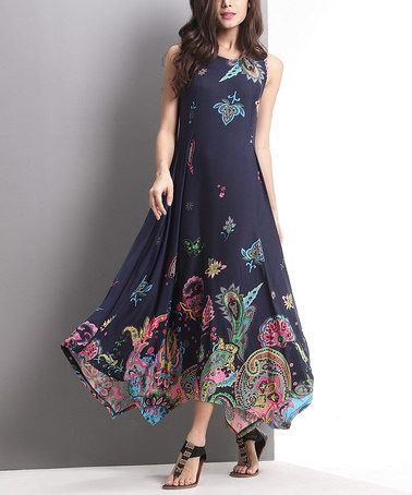 06313117c7 Loving this Navy Floral Paisley Handkerchief Maxi Dress on  zulily!   zulilyfinds