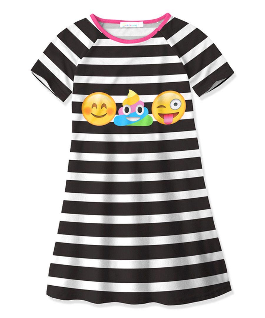 Pink dress emoji  Look at this Black u White Stripe Emoji Swing Dress  Toddler