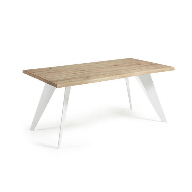 Kavehome Table Koda 180x100 cm, Eopxy blanc et Chêne naturel en 2018