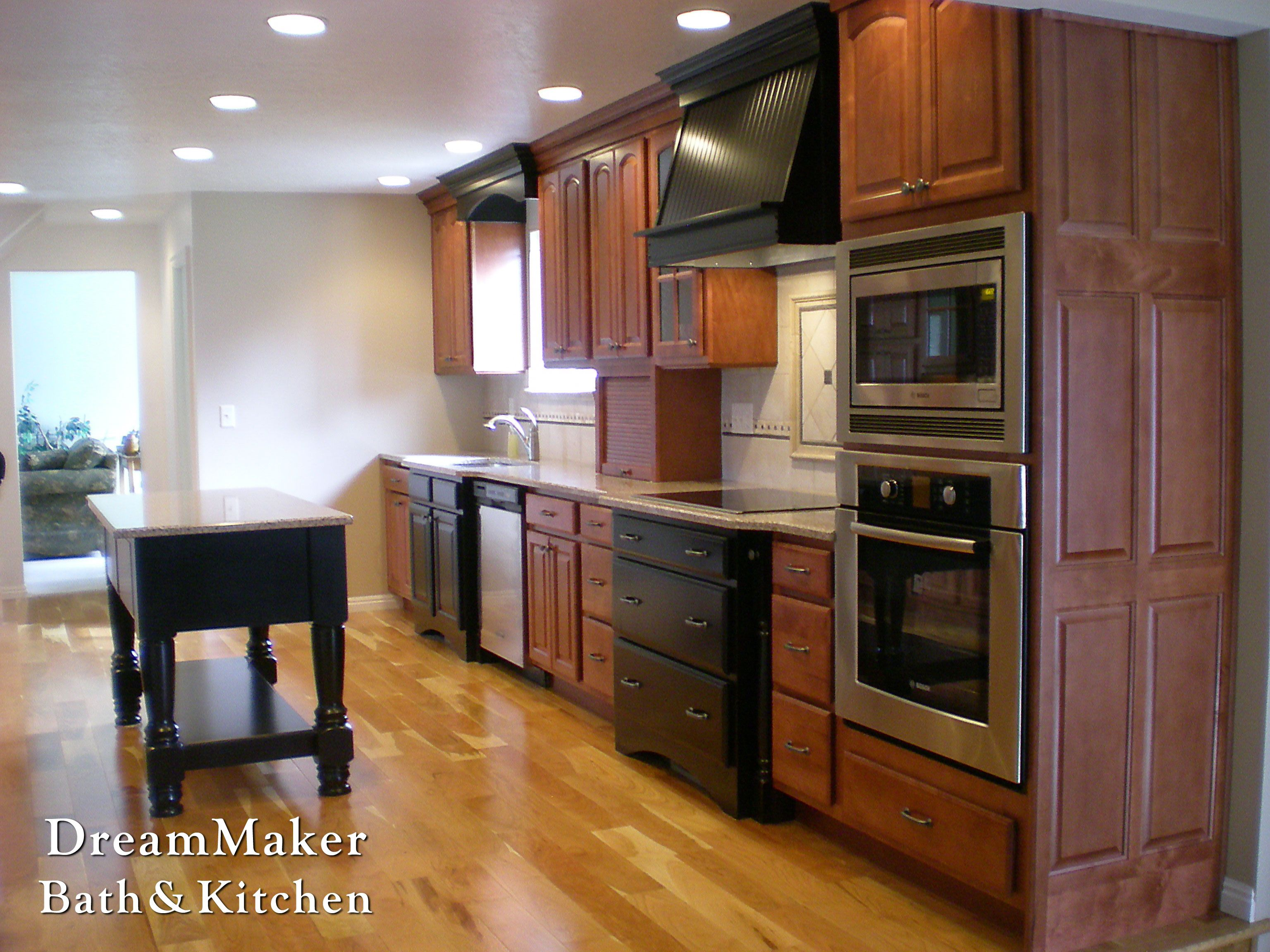 Beautiful Redwood Cabinetry Mixed In Black Kitchen Remodel Complete Kitchens Kitchen