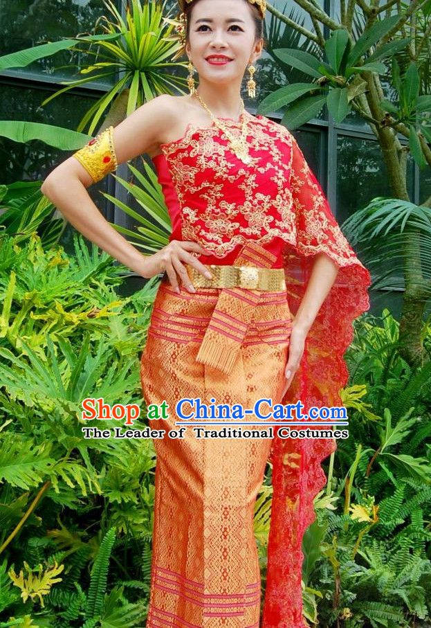 76c33eb940c7 Traditional National Bridal Thai Dress Thai Traditional Dress Dresses  Wedding Dress online for Sale Thai Clothing Thailand Clothes Complete Set  for Women ...