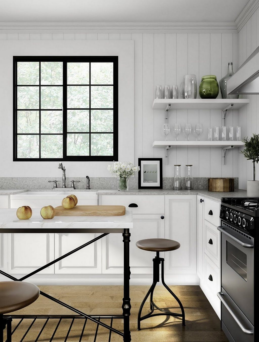 Modern Cottage Kitchen With Black Window Kitchen The Home Depot