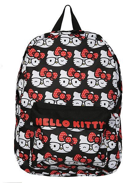 eaa0df9a09 Sanrio HELLO KITTY Loungefly Allover NERD Glasses BLACK SCHOOL BACKPACK NEW