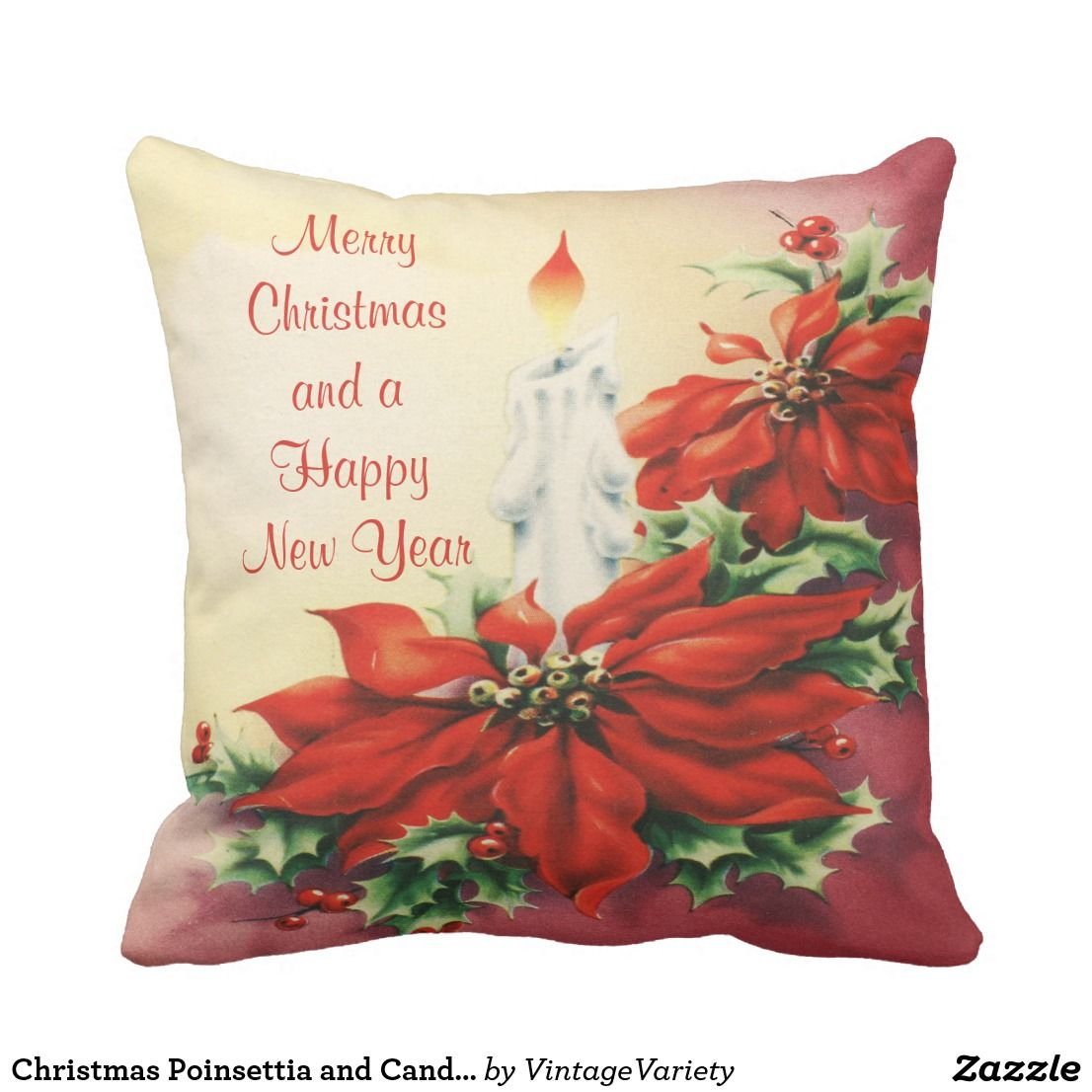 Christmas poinsettia and candle throw pillow christmas poinsettia