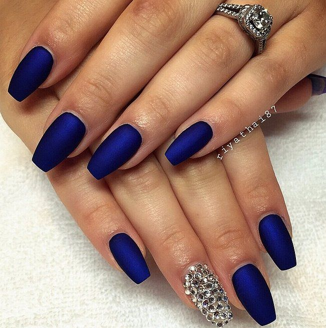 30 Manicure Ideas That Will Make You Mad For Matte Blue Acrylic Nails Blue Nails Diamond Nails