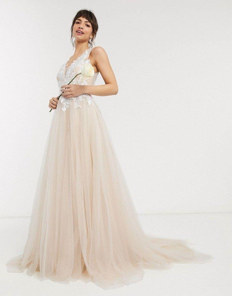 The Bridal Shop At Asos Wedding Dresses For Budget Brides In 2020 Affordable Wedding Gown Maxi Dress Wedding Boho Wedding Dress