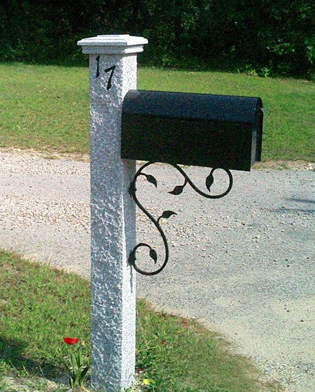 Granite Mailbox Posts Of Various Finishes Iron And Wood Brackets
