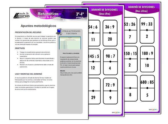 Domin de divisiones actividades y fichas para for Fichas de domino