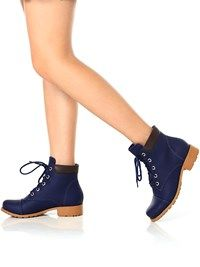 5fcdb6f12 Bota-Coturno-Feminino-Azul-Marinho | botas | Botas, Botas femininas ...