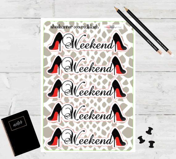 Planner Stickers Weekend Banner Red Bottom Black by TaraKamiya