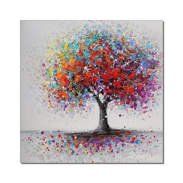 Photo of Abstract Colorful Trees Oil Painting 100% Hand Painted On Canvas Modern New Decorative Handmade Wall Art For Home Decoration – 70cmx70cm / DC 1953  Unframed