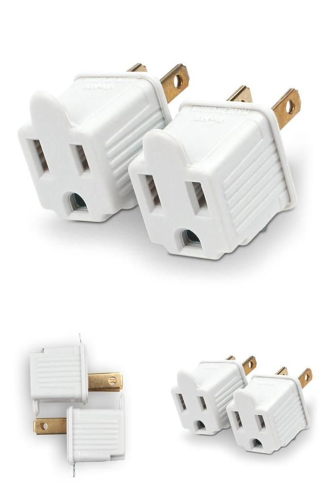 2 PACK Ground Plug Adapter 3 Prong to 2 AC Electrical Outlet ...
