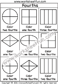 fractions fourths coloring 1 4 one worksheet fraction worksheets. Black Bedroom Furniture Sets. Home Design Ideas