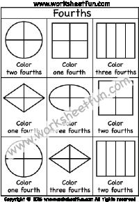 fractions fourths coloring 1 4 one worksheet fraction worksheets fractions worksheets. Black Bedroom Furniture Sets. Home Design Ideas