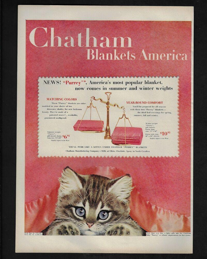 1954 Vintage Print Ad 13 Chatham Blankets Kitten Cat Image Cute Pink Vintage Prints Print Ads Vintage Advertisements